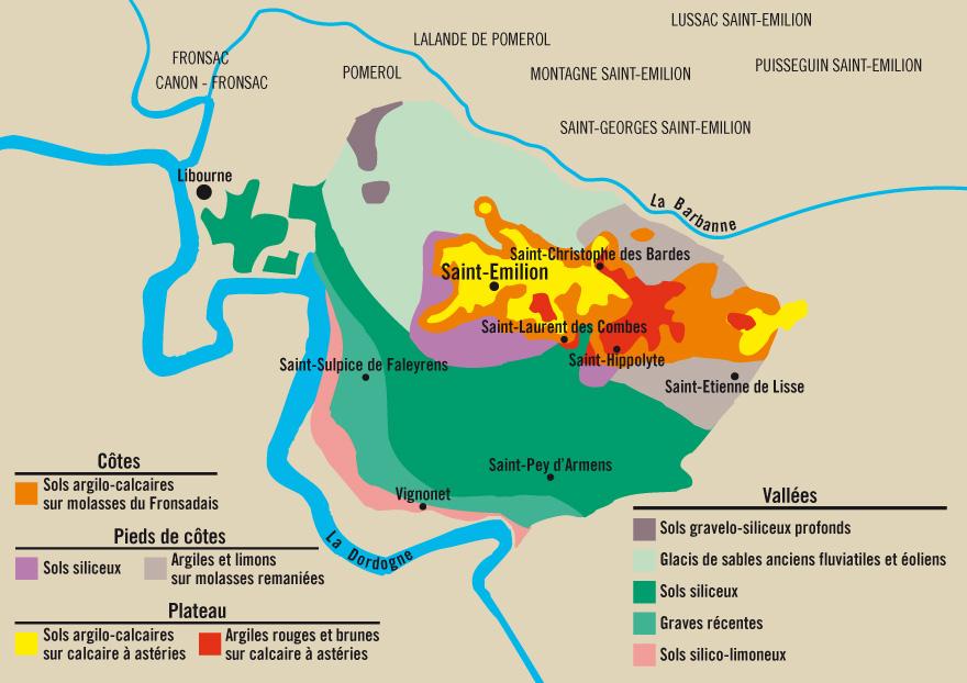 Les sols viticoles de l'appellation Saint-Emilion